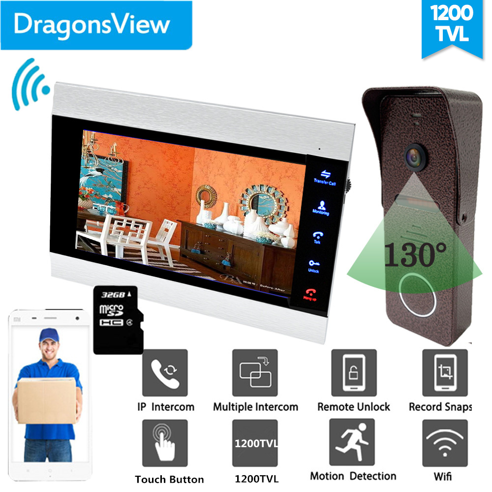 【Wide Angle 1200TVL】Dragonsview IP Video Door Phone Wireless Video Intercom System Wifi Door Access Control Unlock Record
