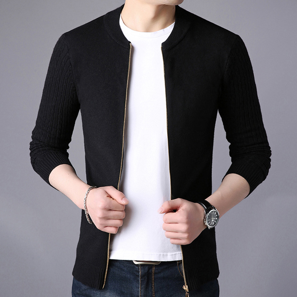 Knitted Jacket Zipper Cardigan Sweater Men Solid Spring Round Neck Sweatercoat Slim Fit Casual Sweters Coats Mens Knitwear SW06