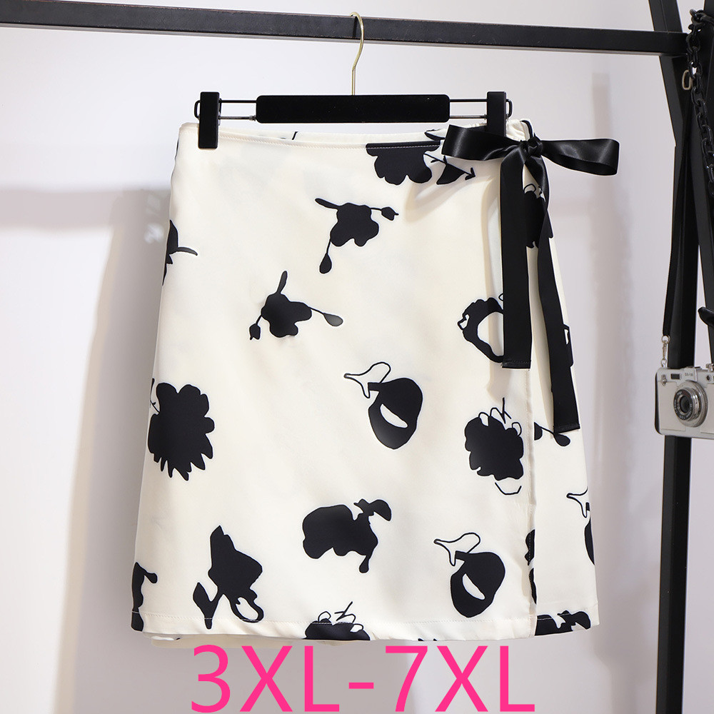 New Spring Autumn Plus Size Skirt For Women Large Casual Loose Elastic Waist Floral Print Bow Short Skirts White 4XL 5XL 6XL 7XL