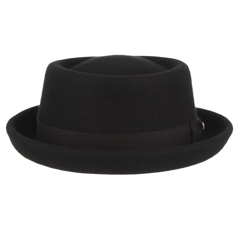 Image 2 - GEMVIE Men Women 100% Wool Felt Crushable Porkpie Fedora Hat Vintage Curved Brim Pork Pie Wool Hat Autumn Winter-in Men's Fedoras from Apparel Accessories