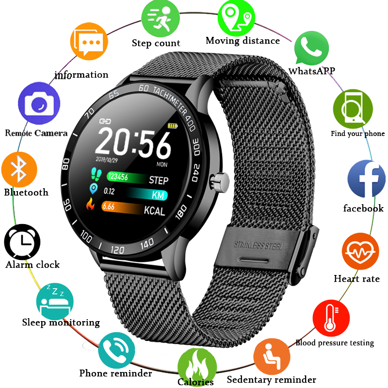 LIGE 2019 New Smart Watch Men <font><b>OLED</b></font> Color Screen Heart Rate Blood Pressure Multi-Function Mode Sport smartwatch fitness Tracker image