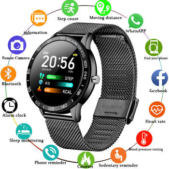 LIGE New Smart Watch Men Women OLED Color Screen Heart Rate Blood Pressure Multi-Function Mode Sport Smartwatch fitness Tracker