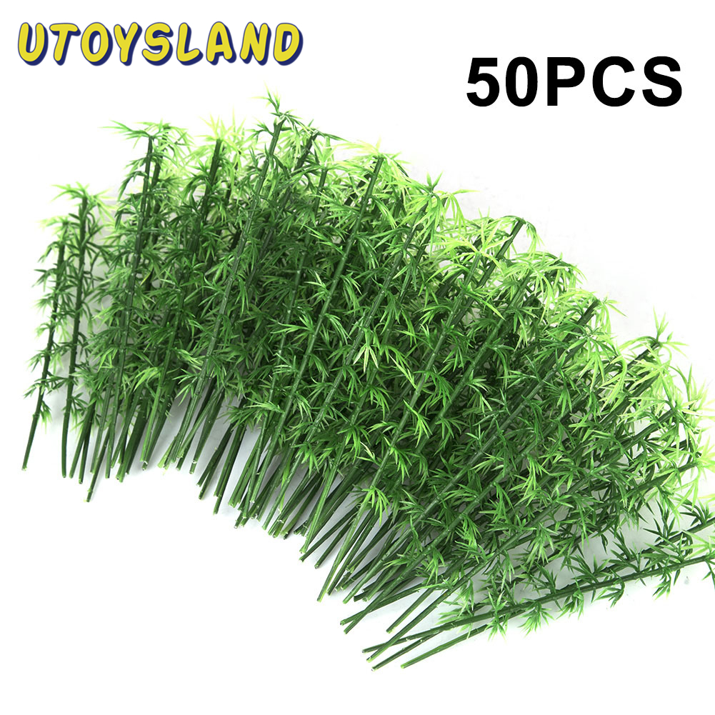 50Pcs 15cm Plastic Miniature Model Tree For Building Trains Railroad Railroad Landscape Bamboo Tree Sand Table Model Decor