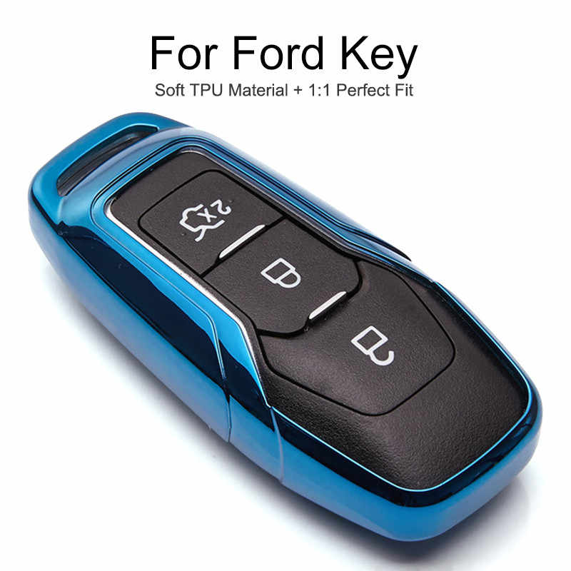 TPU Car Key Cover Case For Ford Fiesta ST Ranger Mondeo MK5 MK4 Explorer 5 Focus 3 F15 Everest S max Key Ring chain Accessories