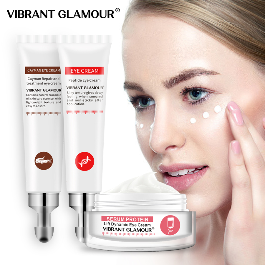 VIBRANT GLAMOUR Eye Cream Peptide Collagen Serum Protein Anti-Wrinkle Crocodile Remover Dark Circles Against Puffiness And Bags
