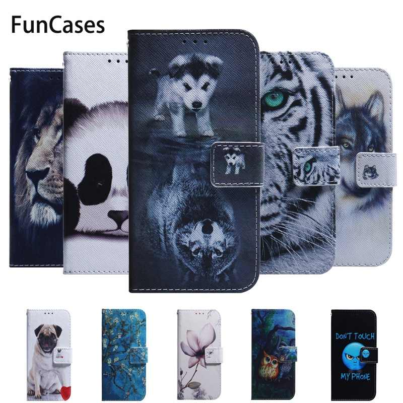 For Huawei P20 Lite 2019 Case Wolf Panda Magnetic Flip Wallet PU Leather Cover For Coque Huawei Nova 5i / P20 Lite 2019 Case