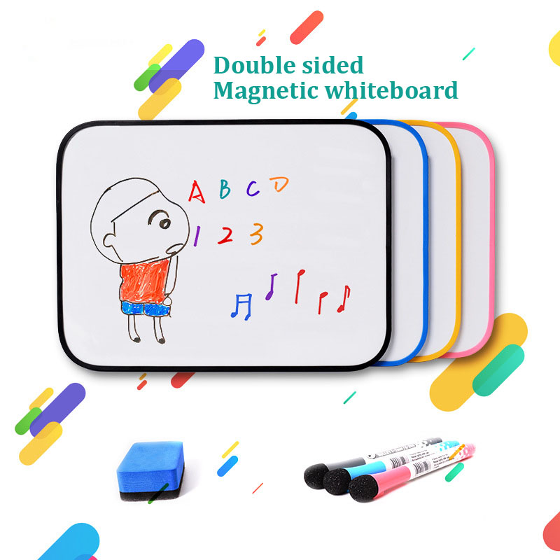 A3 Size Double Sided Magnetic WhiteBoard Dry Erase White Board Kid Drawing Writing Practice Board Silicone Protective Edge