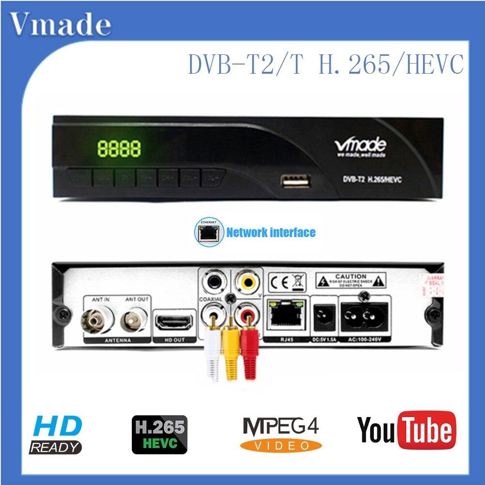Vmade nouveau DVB-T2 K6 HD 1080P H.265 récepteur terrestre numérique construit RJ45 Standard décodeur prise en charge Youtube PVR Dolby AC3