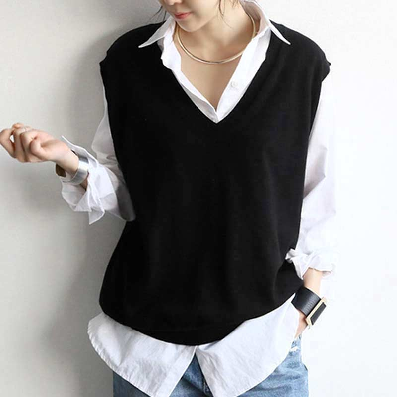 Women's Angora Rabbit Cashmere Wool Big V-neck Vest Simple Relaxed Female All Match Sweaters Sleeveless Pullover Fashion Winter