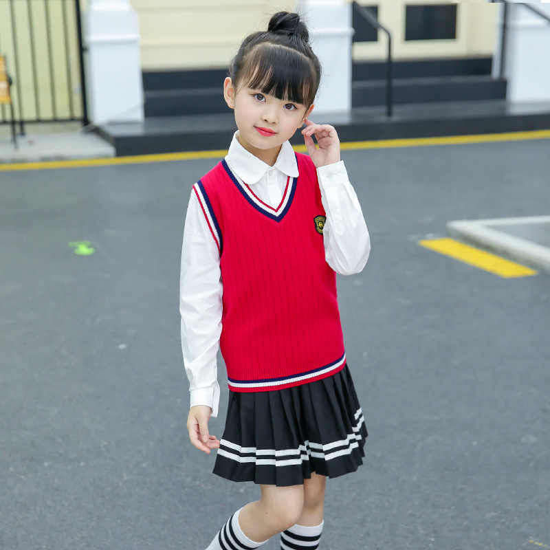 Kids' Sweater Waistcoat 2019 Autumn And Winter Korean-style Childrenswear Cotton Thread Kindergarten Business Attire School Unif