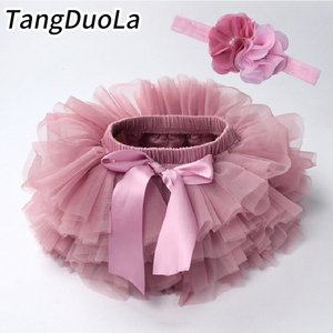 Baby girl tutu skirt 2pcs tulle lace bloomers diaper cover Newborn infant outfits Mauv headband flower set Baby mesh bloomer(China)