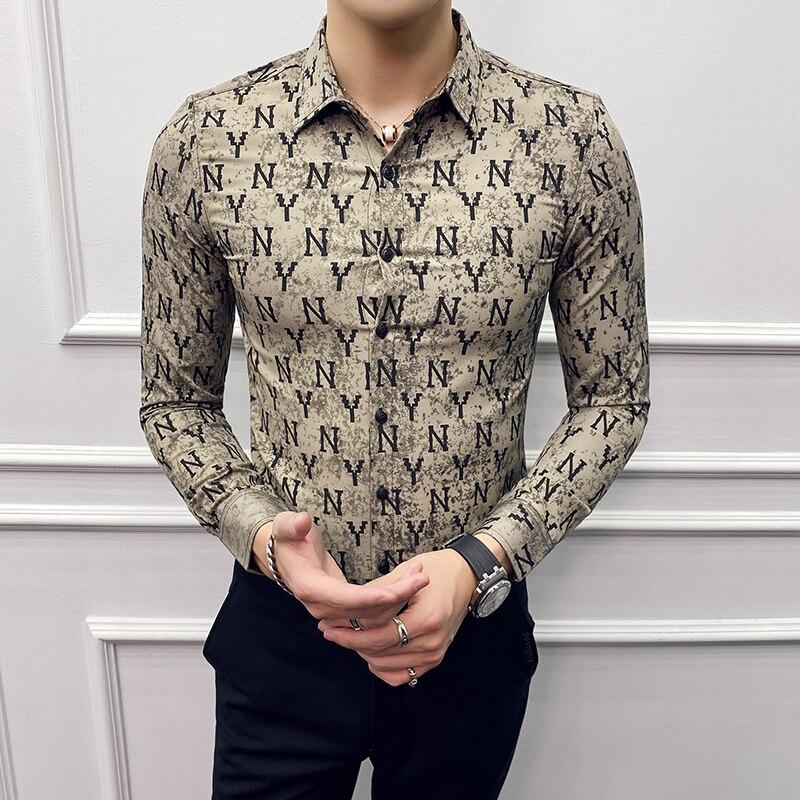 British Style Men Shirt Designer Letter Print Casual Slim Fit Long Sleeve Blouse Homme Streetwear Social Formal Tuxedo Shirts