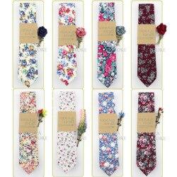 Beautiful Floral 100%Cotton 6cm Necktie Brooch Set Rose Berry Leaf Pin Dress Wedding Party Tuxedo Tie Gift Cravat Men Accessory
