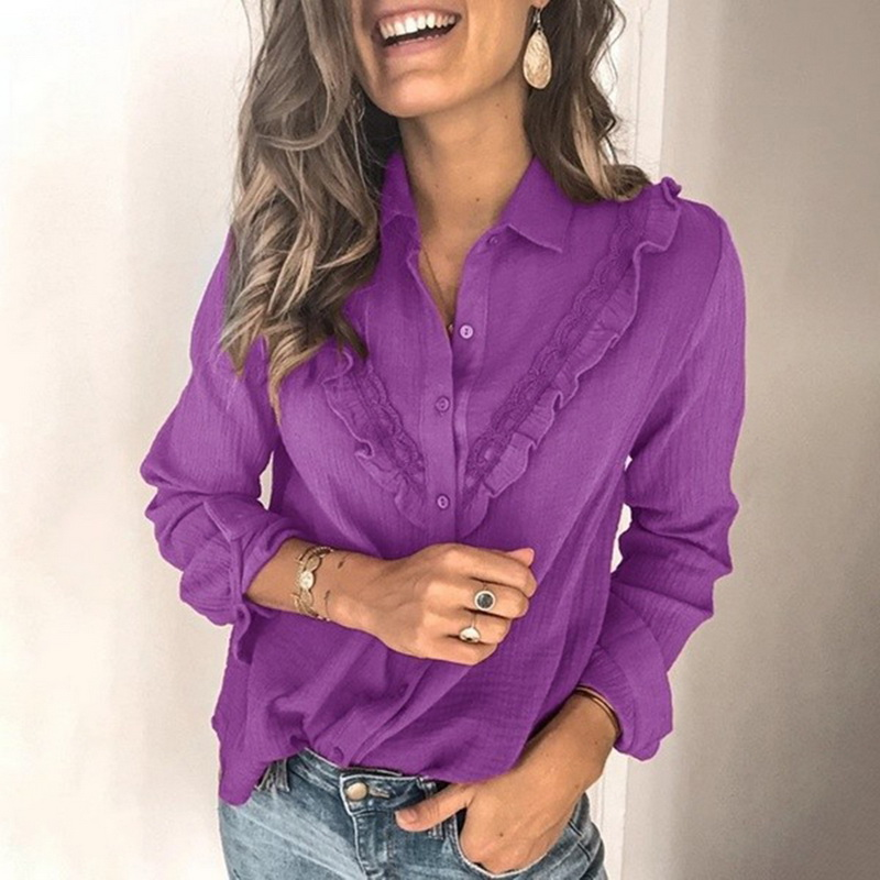 2020 Spring Women Long Sleeve Ruffles Solid Color Blouse Ladies Casual Blouse Work Shirt Chemise Top Blusas Femininas