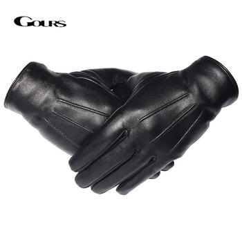 GOURS zimowe rękawiczki męskie oryginalne skórzane rękawiczki ekran dotykowy czarne prawdziwe owczej wełny podszewka ciepłe rękawice jazdy nowy GSM050 tanie i dobre opinie Dla dorosłych Prawdziwej skóry Stałe Nadgarstek Moda Real Leather gloves Winter Black Sheepskin Fleece Wool S M L All men