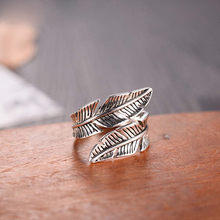 2020 Bijoux Fashion Real 925 Sterling Silver Feather Rings for Women Boho Adjustable S925 Antique Rings Anillos joyas de plata