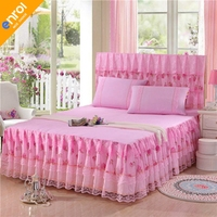 Summer bedspread bed skirt single lace lace 1.5 meters with mat 1.8 bed set princess wind non slip three sets