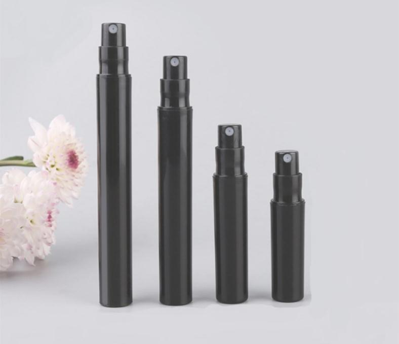 1000pcs/lot 2ml <font><b>3ml</b></font> 4ml 5ml Small Plastic <font><b>Spray</b></font> Perfume <font><b>Bottle</b></font> Black Mist Sprayer Sample Perfume Vials SN454 image