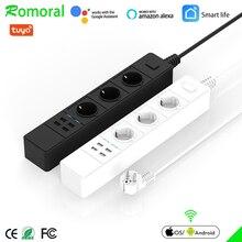 Tira de alimentación Wifi Protector contra sobretensiones, enchufes de la UE, temporizador, Control remoto por voz, funciona con Echo, Alexa y Google Home