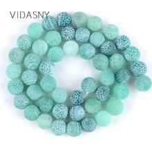 Natural Stone Matte Onyx Round Beads For Jewelry Making Frost Cracked Green Agates 4mm-12mm Diy Bracelet Necklace 15
