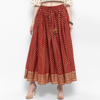 Indian Skirt Cotton Ethnic Style Red Printed Casual Loose Fit Indian Dress Clothes Pakistani Free India Costume Women Skirts