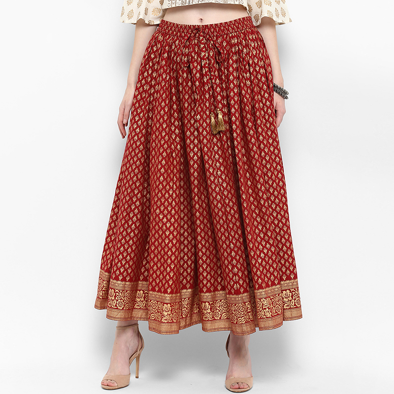 Indian Skirt Cotton Ethnic Style Red Printed Casual Loose Fit Indian Dress Clothes Pakistani Free <font><b>India</b></font> Costume Women Skirts image