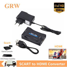 Grwibeou 1080P Scart Naar Hdmi Video Audio Upscale Converter Adapter Voor Hd Tv Dvd Voor Sky Box Stb Plug en Spelen Dc Kabel