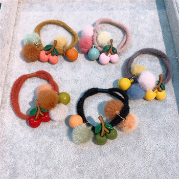 Japanese Simple Cute Colorful Cherry Fruit Hairball Rubber Band Hair Rope Fashion Sweet Girl Children Ponytail Hair Accessories image