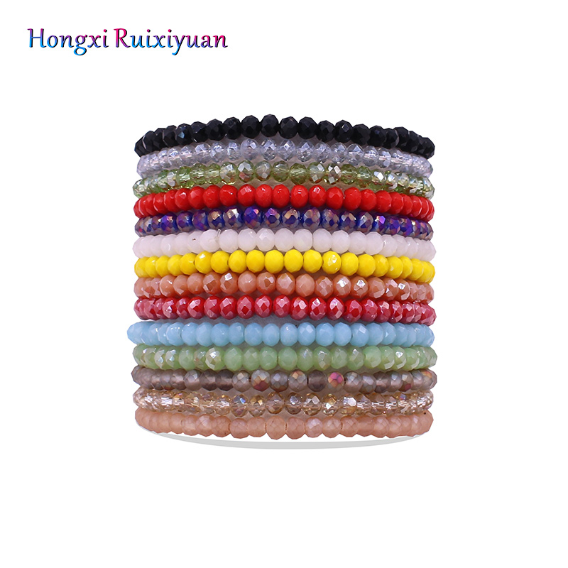 Crystal bracelet handmade beaded ladies bracelet simple fashion high quality crystal beads bracelet 14 color friendship jewelry