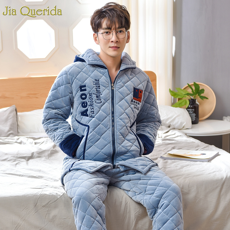 Luxury Men Winter Home Clothing 3 Layer Padded Hooded Pajama Set European Quality Men And Women Matching Embroidery Pyjamas Set