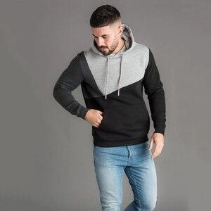 Image 5 - Толстовка мужская для фитнеса, Модный свитшот с капюшоном, брендовый пуловер для воркаута, уличная одежда, осень зима