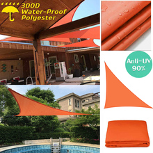 300D Sun Shade Sail Orange Home Outdoor Garden Waterproof Canopy Patio Plant Cover UV Block Awning Decoration Sunshade triangle