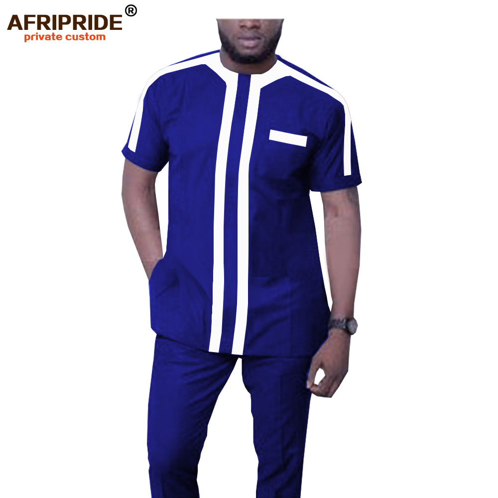 2019 African Men Clothing Big And Tall Dashiki Short Sleeve Tops Blouse+ Ankara Pants Tracksuit Pockets Wax AFRIPRIDE A1916044