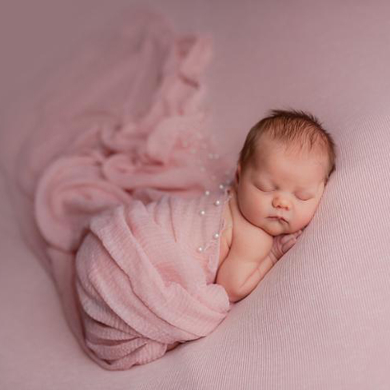 Newborn Photography Props Mohair Viscose Stretchy Knit Wrap With Pearls Blanket Wraps Baby Wrap-newborn Scarf