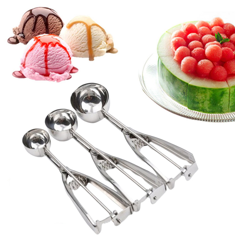 TTLlFE Ice Cream Scoop Stainless Steel Ice Cream Scoop Watermelon Fruit Ice Ball Maker Home Restaurant Kitchen Accessories Mold image