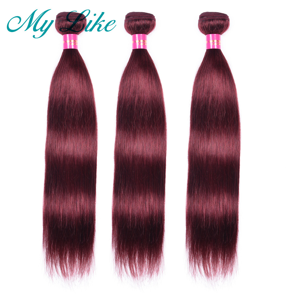 My Like Malaysian Straight Hair Weave 99j Red Human Hair Bundles Non-remy Hair Extension 3 Bundles Burgundy Hair Weaving Bundles