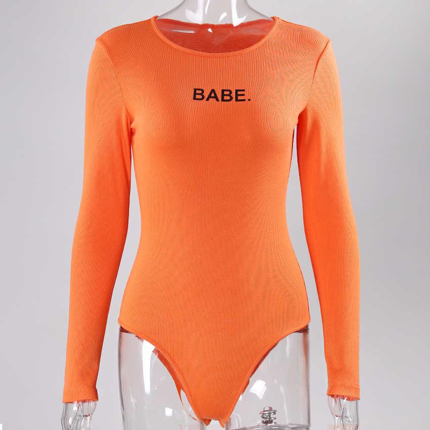 Negro naranja blanco Sexy Bodysuit mujer carta Babe manga larga Bodysuits estiramiento leotardo Tops Skinny algodón mono Romper
