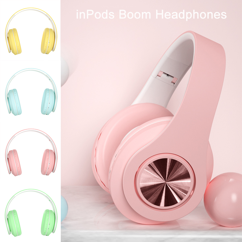 Inpods Boom Portable Wireless Headphones Bluetooth Stereo Foldable Headset Pink Audio Mp3 Adjustable Earphones With Mic Music