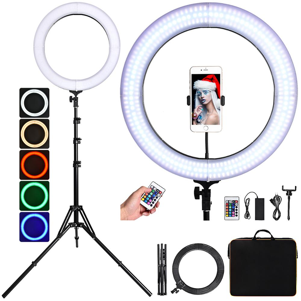 FOSOTO 18 Inch RGB Ring Light 3000-6000K Led Ring Lamp With Tripod Remote Photography Lighting For Camera Phone Makeup Youtube