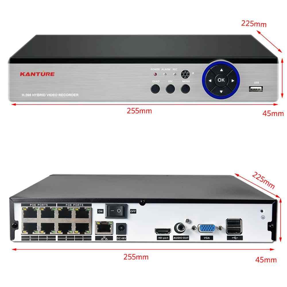 KANTURE H.265 + CCTV 8CH 5MP POE NVR System bezpieczeństwa CCTV Audio 5MP zapis twarzy IR Cut wandaloodporna kamera monitorująca wideo zestaw