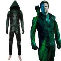 New Green Arrow Cosplay Costume Oliver Queen Green Arrow Costume Season 8 Uniform Suit Adult Halloween Men Outfit Custom Made