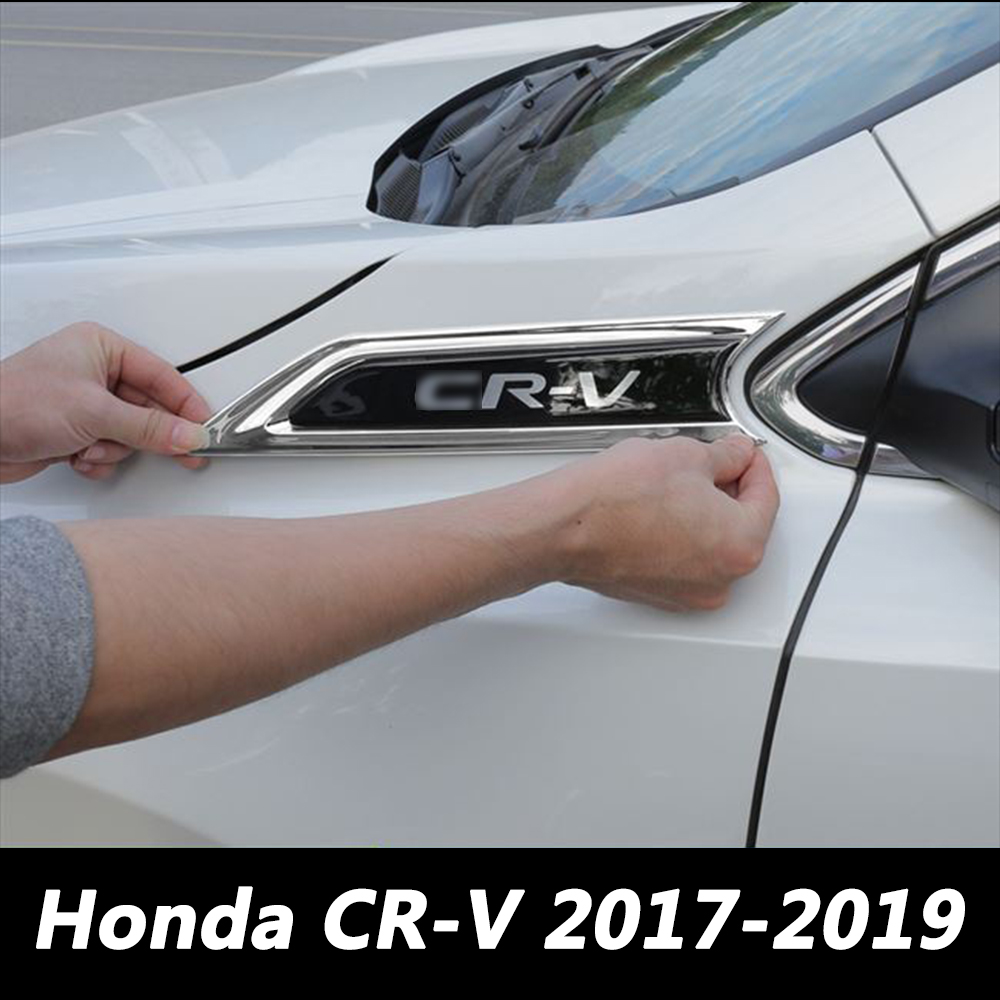 For <font><b>Honda</b></font> CR-V <font><b>CRV</b></font> <font><b>5</b></font> 5th MK5 2017 <font><b>2018</b></font> 2019 Car Front Side Fender Trim Cover <font><b>CRV</b></font> Logo Stickers Car Styling Accessories image