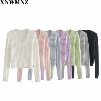 XNWMNZ Womens Stylish Sweaters New Fashion Style V-Neck Solid Ladies Pullovers Female Knitted Long Sleeve Pulls Jumpers Autumn