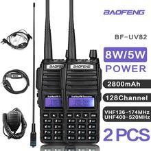 1 or 2 Sets UV82 VHF UHF Transceiver Walkie-talkie Two Way Radio Talkie Walkie Ham Radio Comunicador Baofeng uv 82 Walkie Talkie cheap 2800 CN(Origin) Portable 3km-5km 3w-5w UV-82 136-174MHZ and 400-520MHZ (TX RX) 132 x 60 x 35 mm (not included antenna) 128CH
