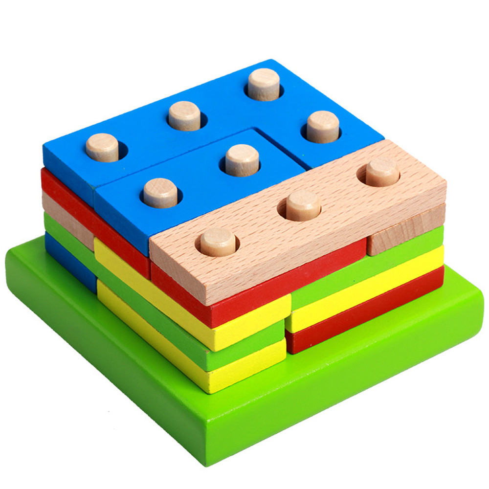 Children's Wooden Building Blocks Montessori Wooden Puzzle Kids Toy Geometric Sorting Board Kids Educational Toy L0219