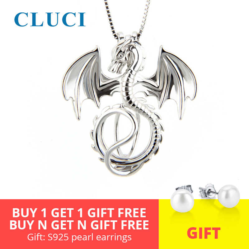 CLUCI Silver 925 Dragon Charms Pendant Jewelry for Women Real 925 Sterling Silver Charms Pendant Pearl Locket Jewelry