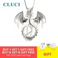 CLUCI Серебро 925 Подвески дракона кулон ювелирные изделия для женщин Настоящее серебро 925 проба Подвески кулон жемчуг кулон