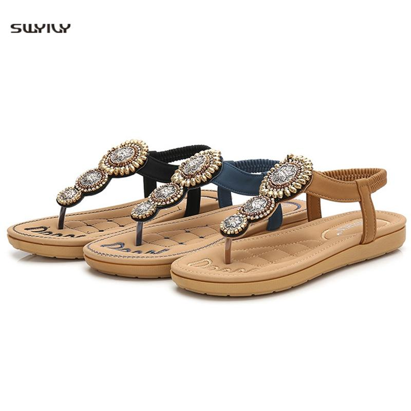 Womens Flat Sandals Strappy Gladiator Clip Toe Slipper Summer Casual Low Flip Flops Shoes Slip-On Flats Beach Shoes