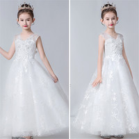 White Color Children Girls Elegant Appliques Flowers Birthday Wedding Party Puffy Princess Long Dress Host Piano Costumes Dress