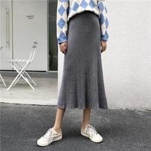 Harajuku High Street Midi Knit Skirt Women Korean Style High Waist Skirt Autumn Winter Elastic Waist Casual Ladies Skirts Black f a urio motets op 1